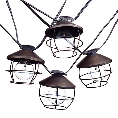 Chicago 10-Light 10 ft. Outdoor/Indoor String Light, Round Vintage Edison Bulbs Included