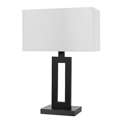 """Lampe de table de 20"""" de collection D'Alessio en noir mat avec abat-jour en lin blanc"""