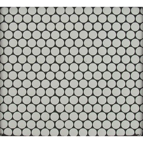 Blanco Penny Round 11.5-inch x 11.63-inch x 10 mm Porcelain Mesh-Mounted Mosaic Tile