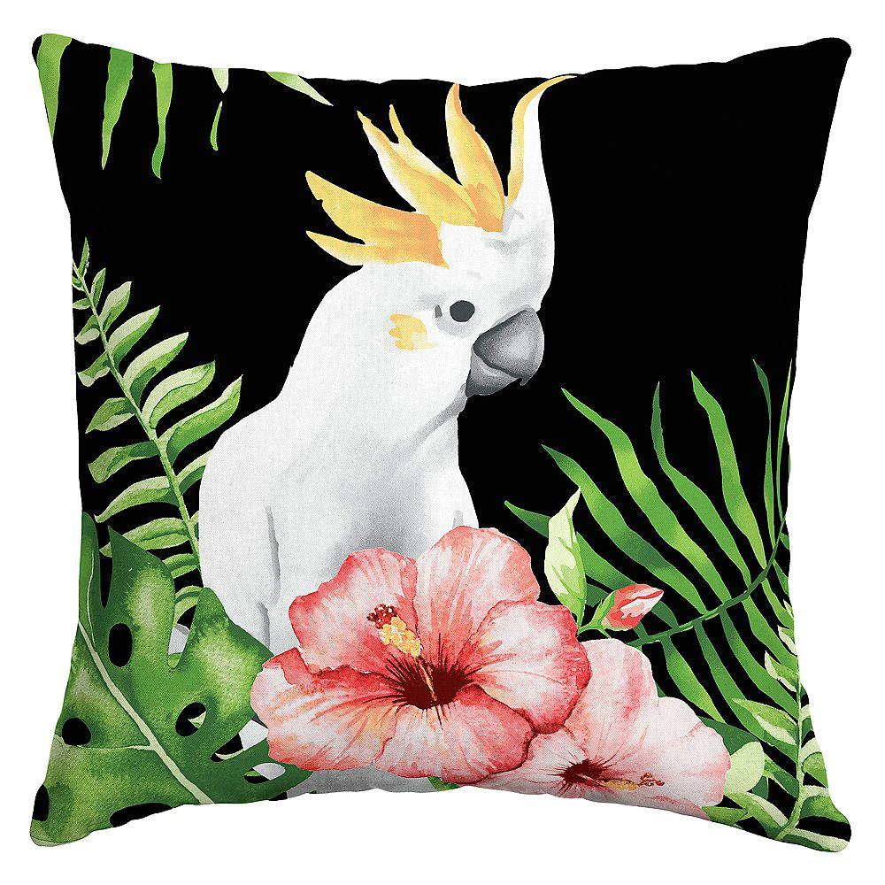 Hampton Bay Clyde Cockatoo Outdoor Square Throw Pillow