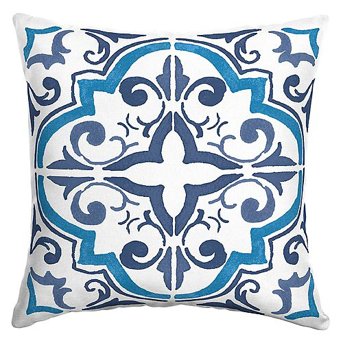 Lisbon Tile Outdoor Square Throw Pillow