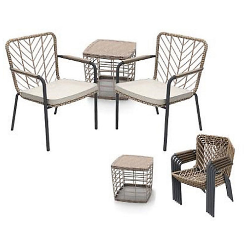 Creston 3-Piece Wicker Square Patio Bistro Set in Shell White with Grey Cushions