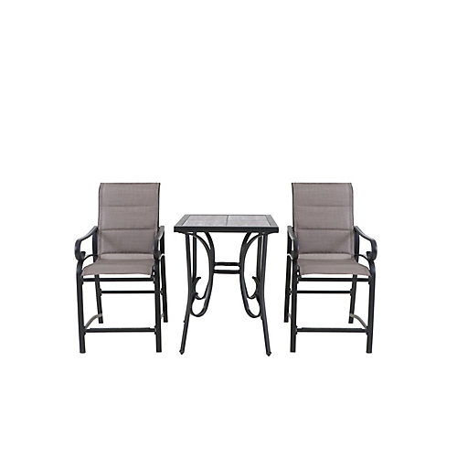 Crestridge 3-Piece Steel Padded Sling Patio Balcony Height Bistro Set in Putty Taupe