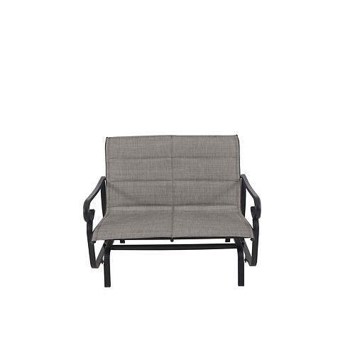 Crestridge Sling Padded Patio Glider Chair with Grey Seatpad