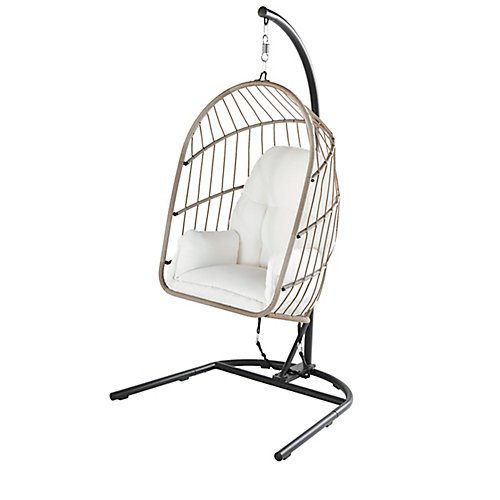 Collapsible Steel Rope Folding Patio Swing with Grey Base and Grey Cushions