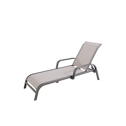 Commercial Grade Aluminum Stack Patio Chaise Lounge in Dark Taupe with Sunbrella Elevation Stone Sling (Set of 2)