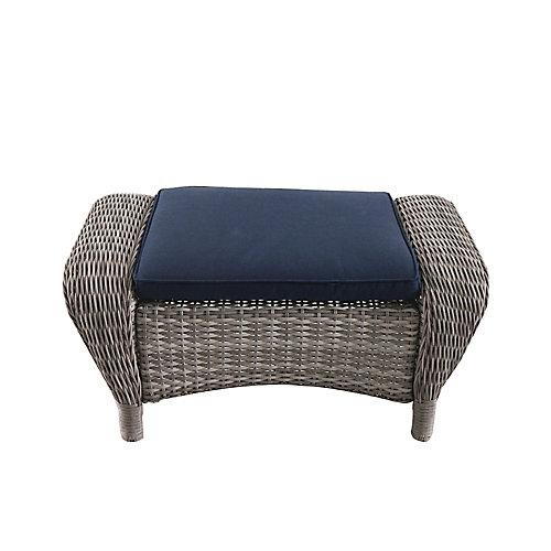 Beacon Park Wicker Outdoor Patio Ottoman in Grey with Standard Midnight Trellis Navy Blue Cushions