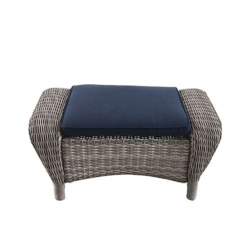 Beacon Park Wicker Outdoor Patio Ottoman in Grey with Standard Midnight Trellis Navy Blue Cushions