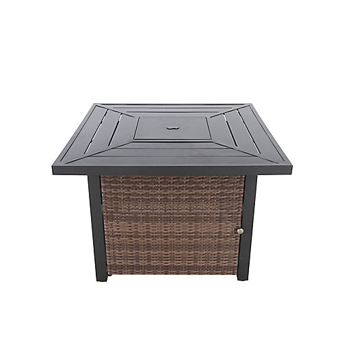 Beacon Park 36-inch Square Steel Propane Fire Table with Wicker Base