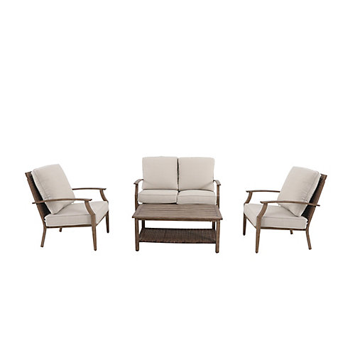 Geneva 4-Piece Steel Woven Patio Conversation Deep Seating Set with Oatmeal Cushions
