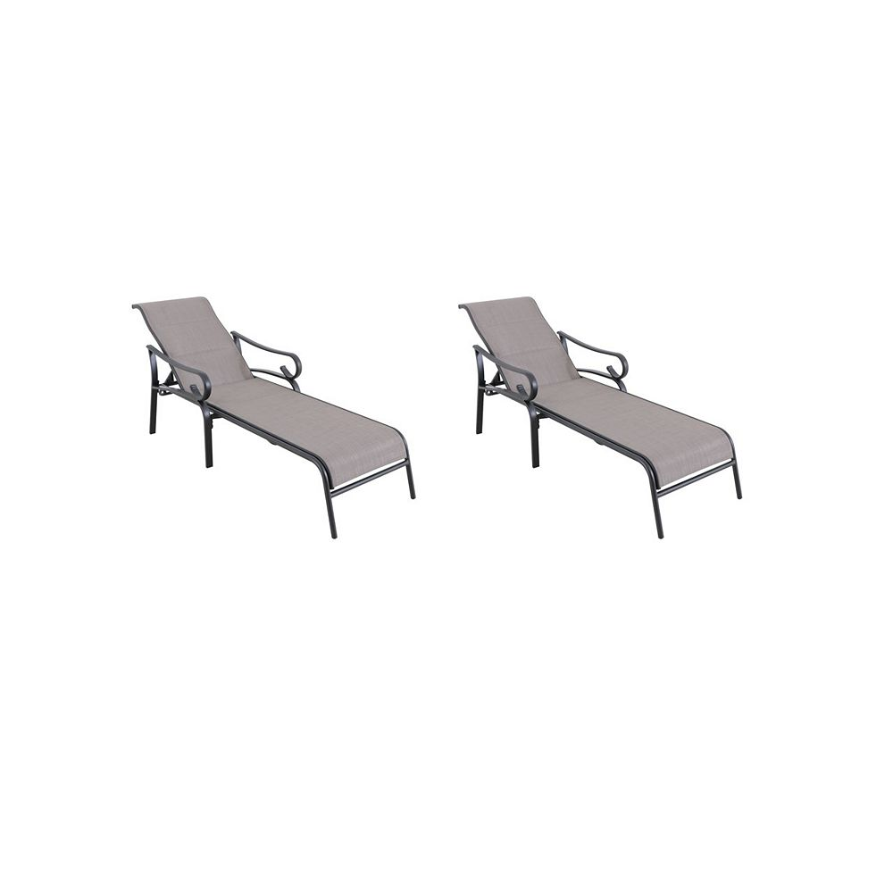 Hampton Bay Crestridge Steel Padded Sling Outdoor Patio Chaise Lounge in Putty Taupe (2-Pack)