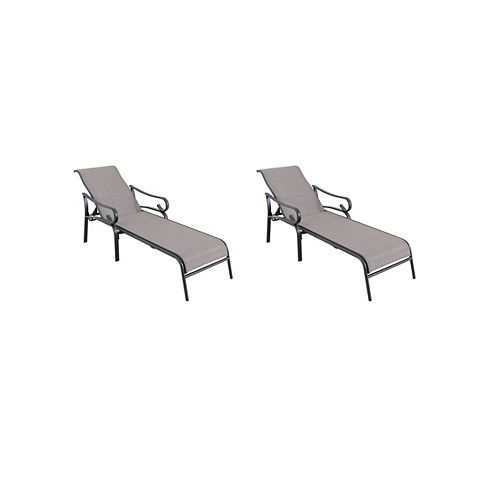 Crestridge Steel Padded Sling Outdoor Patio Chaise Lounge in Putty Taupe (2-Pack)
