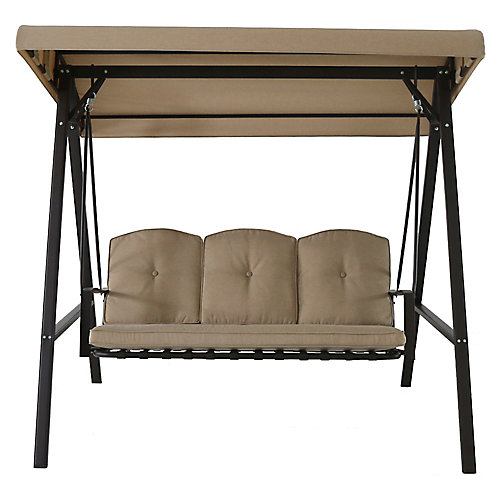 Cunningham 3-Person Metal Patio Swing with Canopy