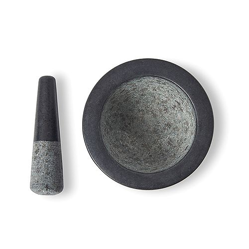 Mortier et pilon en granit noir