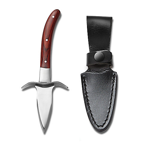 """Oyster Knife with Pakka Wood Handle and """"Full Tang"""" Stainless Steel Blade and Case"""
