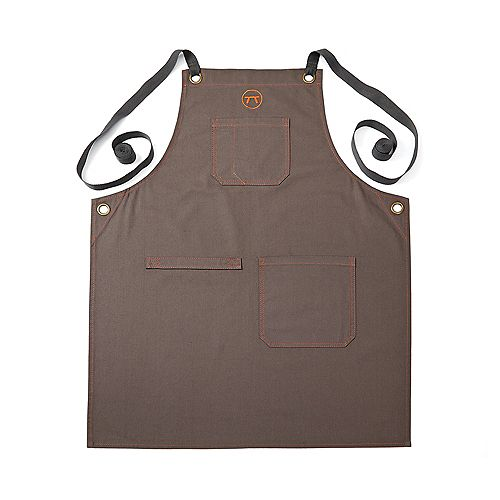 Canvas Griller's Apron with Multi-Pockets, Brown