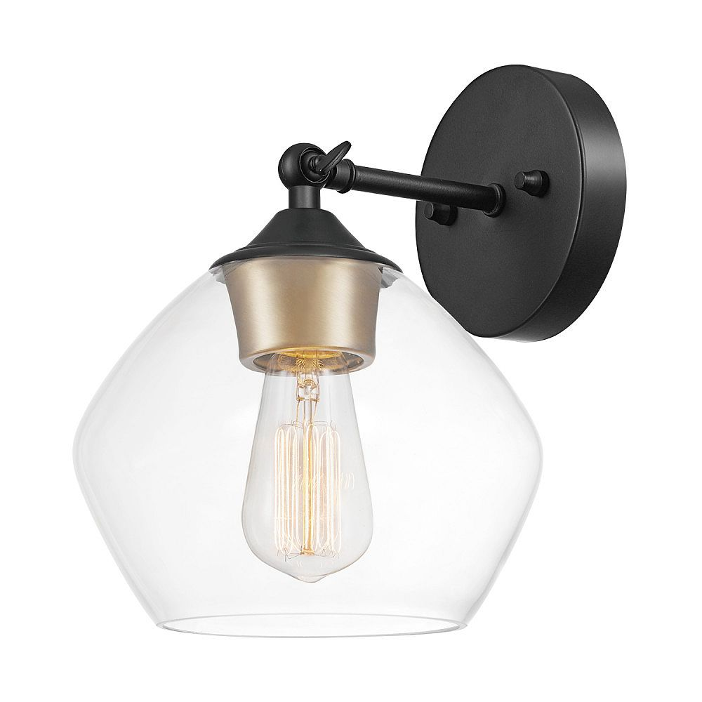 Globe Electric Harrow 1 Light Matte Black Wall Sconce With Clear Glass Shade The Home Depot Canada