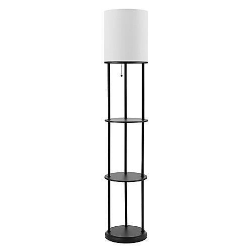 Reid 57.5 inch Matte Black Shelf Floor Lamp with White Linen Shade