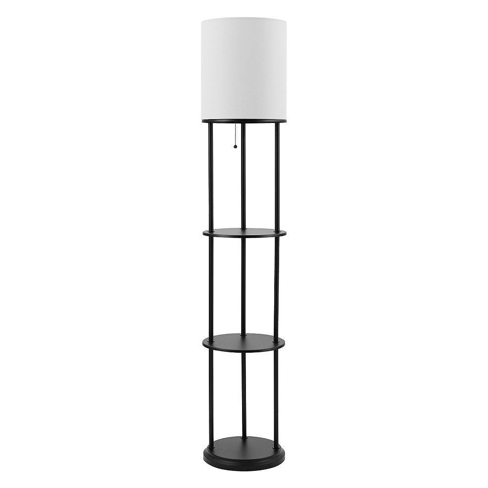 Shelf Floor Lamp With White Linen Shade, Floor Lamps With Shelf Canada
