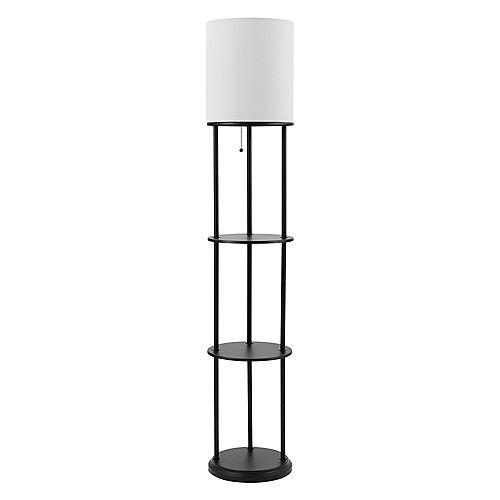 """Lampe sur pied et pour étagère de 57.5"""" de collection Reid en noir mat avec abat-jour en lin blanc"""