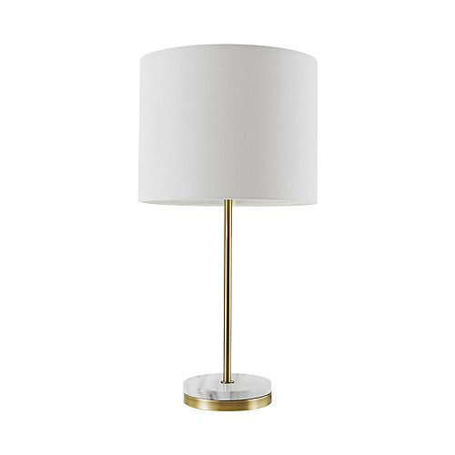 "Lampe de table de 19"" de collection Versailles en or doux avec accent en faux marbre"