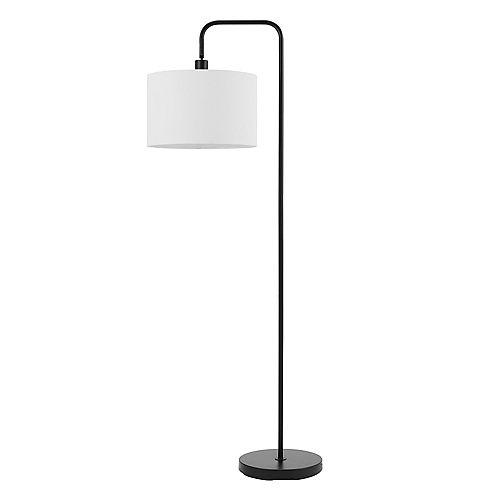 """Lampe sur pied de 58"""" de collection Barden en noir mat avec abat-jour en lin blanc"""