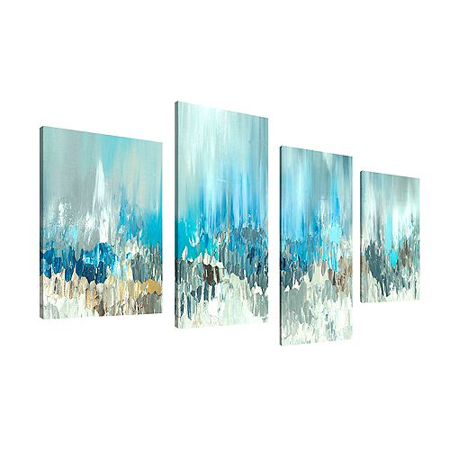 Abstract Blue Visuals Giclee Print Canvas Wall ArtSet of 4