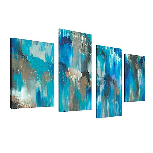 Abstract Exotic Blue Giclee Print Canvas Wall ArtSet of 4
