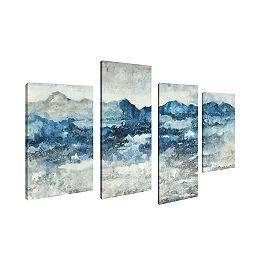 Maison d'art Canada, paysage abstrait bleu mer blanche toile impression sticker Jeu de 4