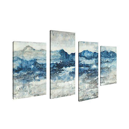 Abstract Seascape Blue White Sea Print Canvas Wall ArtSet of 4