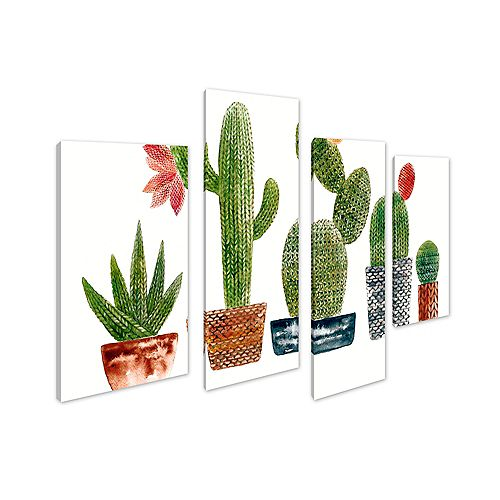 ArtMaison Canada Plant Cactus Giclee Print Canvas Wall Art Décor for Home and OfficeSet of 4