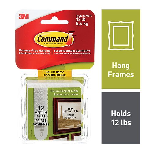 Command Picture Hanging Strips Value Pack, White, Medium, 12/Pack