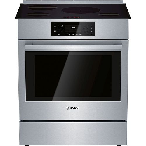 Bosch 30 in. 4.6 cu. ft. Slide-In Induction Range with Self-Cleaning Convection Oven in Stainless Steel