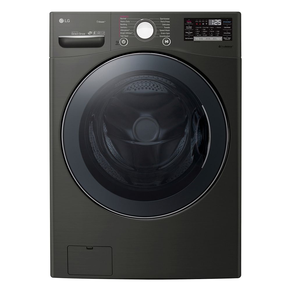 LG Electronics 5.2 cu.ft Front Load Washer with Ultra Large Capacity and Wi-Fi in Black, Stackable - ENERGY STAR®