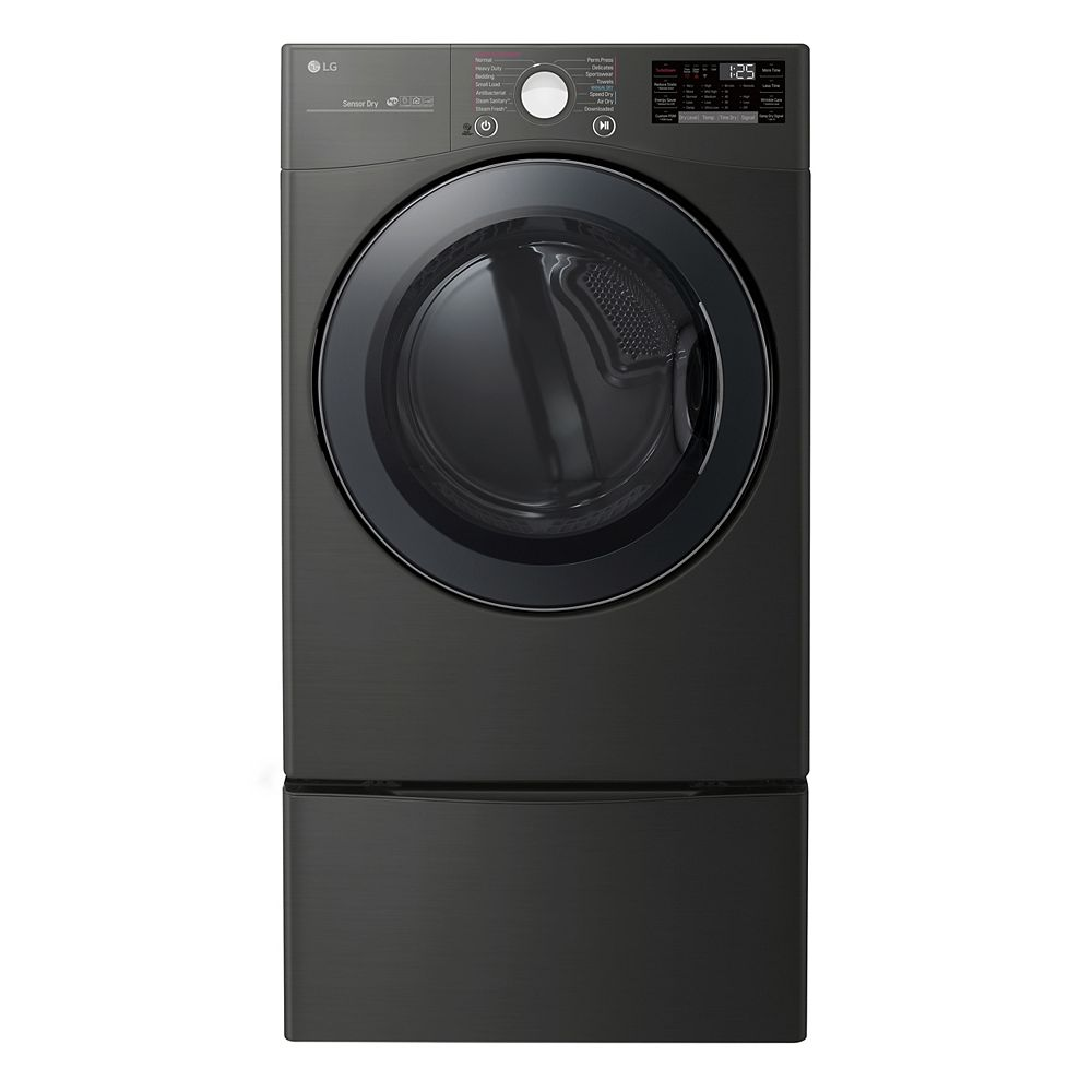 LG Electronics 7.4 cu. ft. Smart Electric Dryer with Ultra Large Capacity and Wi-Fi in Black Steel, Stackable - ENERGY STAR®