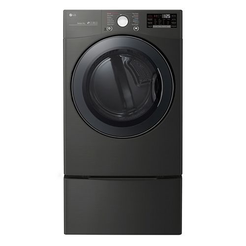 LG Electronics 7.4 cu. ft. Smart Gas Dryer with Ultra Large Capacity and Wi-Fi in Black Steel, Stackable - ENERGY STAR®