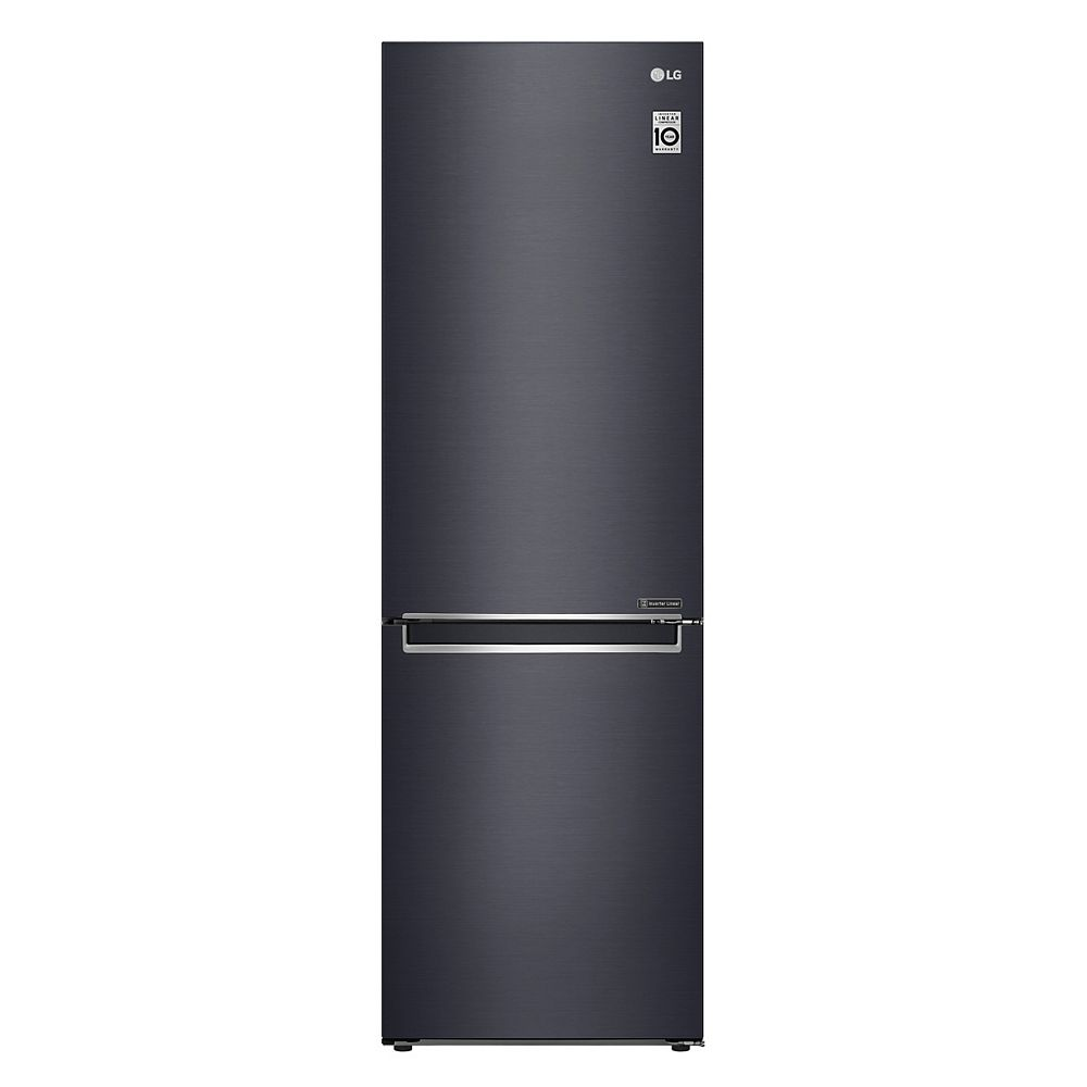 LG Electronics 24-inch W 12 cu. ft. Bottom Freezer Refrigerator in Matte Black, Apartment-Size, Counter-Depth