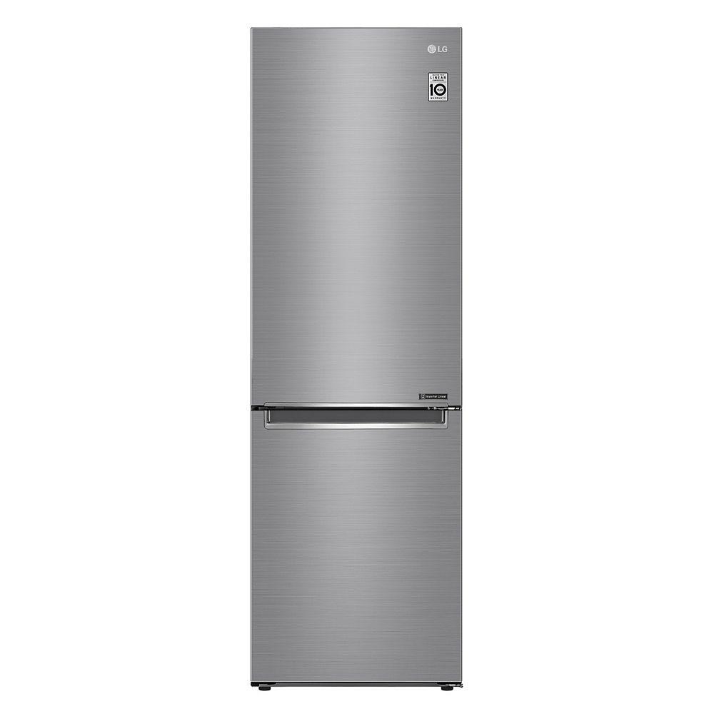 LG Electronics Réfrigérateur à congélateur inférieur de 24 pouces de largeur et 12 pieds cubes en argent platine, taille appartement, profondeur du comptoir