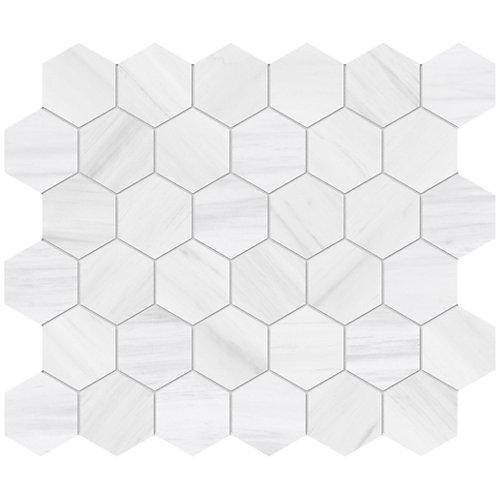 Dolomite Bianco 2-inch Hexagon Porcelain Mosaics