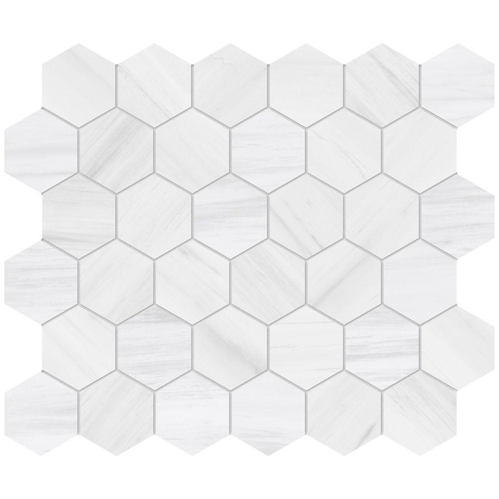 Enigma Dolomite Bianco 2-inch Hexagon Porcelain Mosaics
