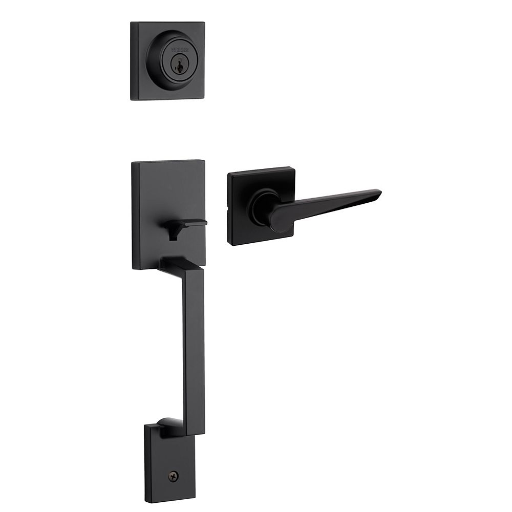 Weiser Amador/Tristan Entry Deadbolt Lock and Handleset in Black