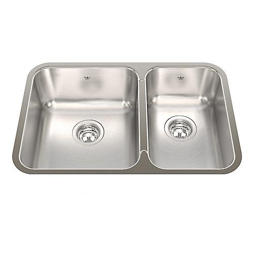 27-inch 60/40 Double Bowl Undermount Kitchen Sink in Stainless Steel