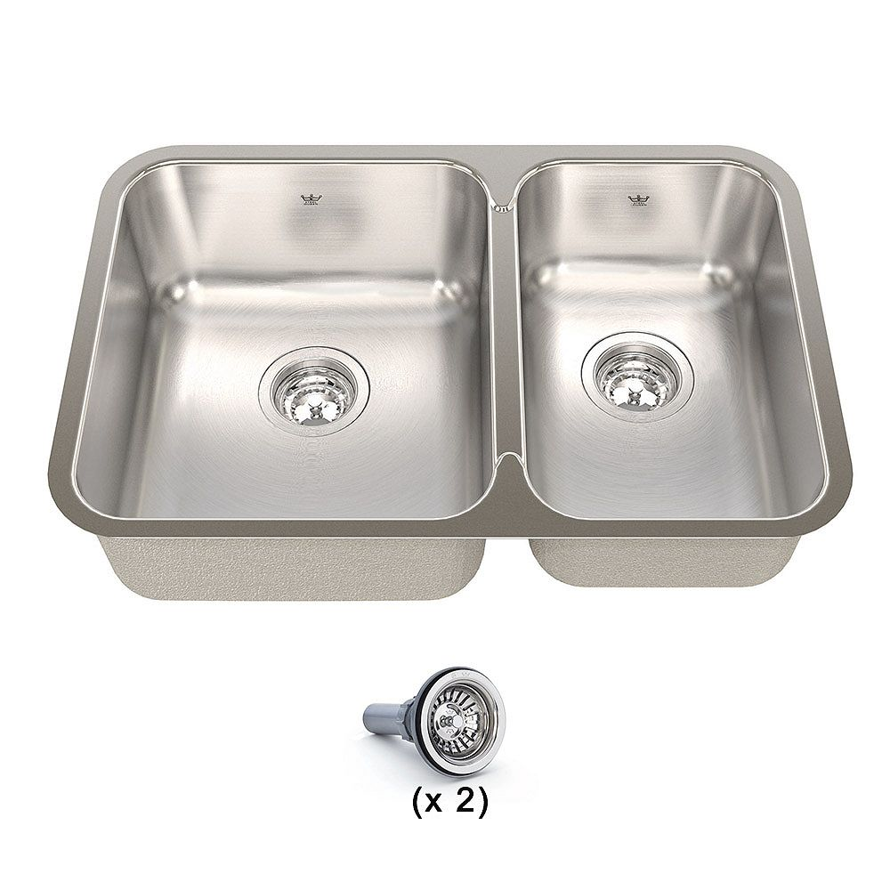 Kindred 27-inch 60/40 Double Bowl Undermount Kitchen Sink in Stainless Steel