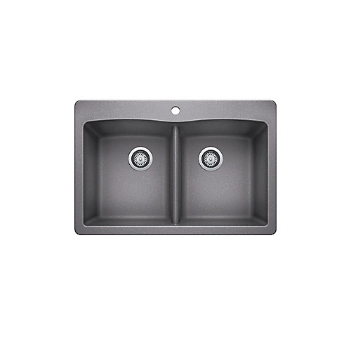 33-inch Drop-In Double Bowl Composite Kitchen Sink in Silver