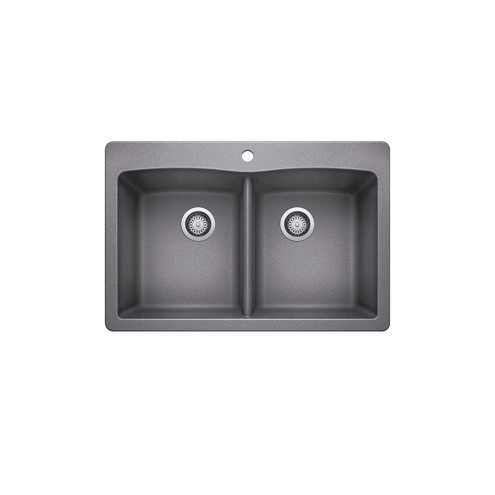 Glacier Bay 33 Inch Drop In Double Bowl Composite Kitchen Sink In Silver The Home Depot Canada