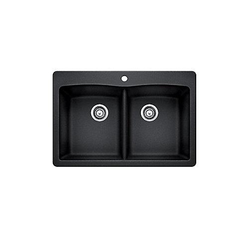 Double Bowl Drop-in Kitchen Sink in Black