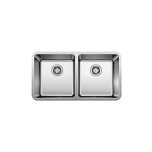 Neotera U2 Double Bowl Undermount Kitchen Sink, Stainless Steel