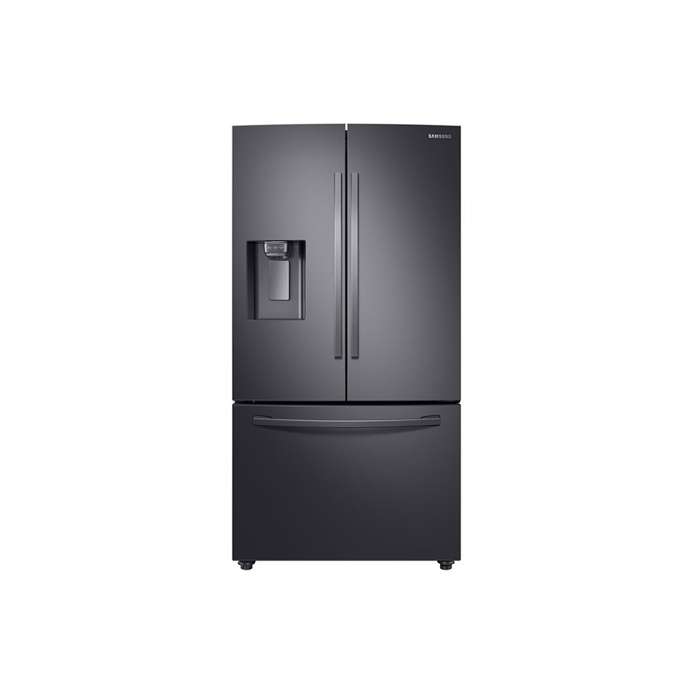 Samsung 36-inch W 28 cu.ft. French Door Refrigerator in Fingerprint Resistant Black Stainless Steel, Standard Depth - ENERGY STAR