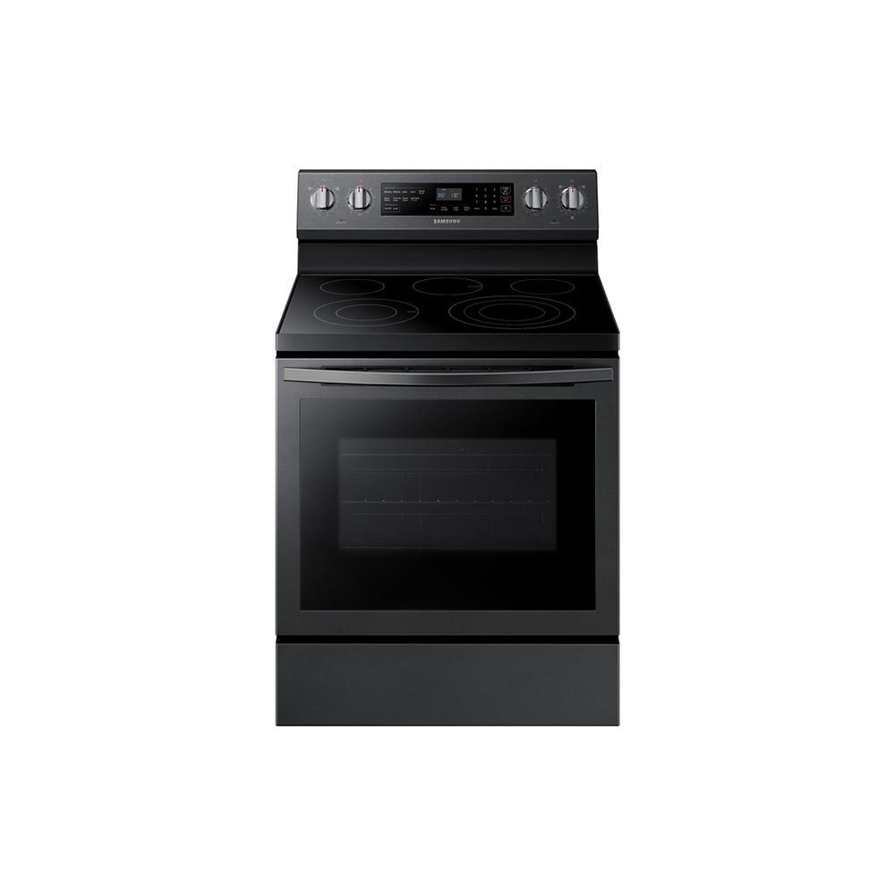 Samsung 5.9 cu. ft. Freestanding Single Oven Electric Range with Self-Cleaning True Convection Oven in Black Stainless Steel