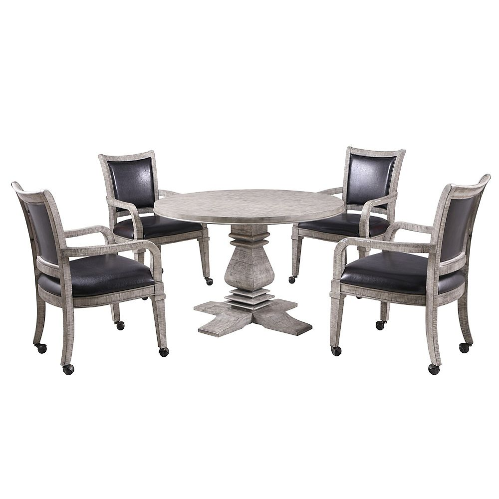 Hathaway Montecito Dining and Poker Table Set - Driftwood